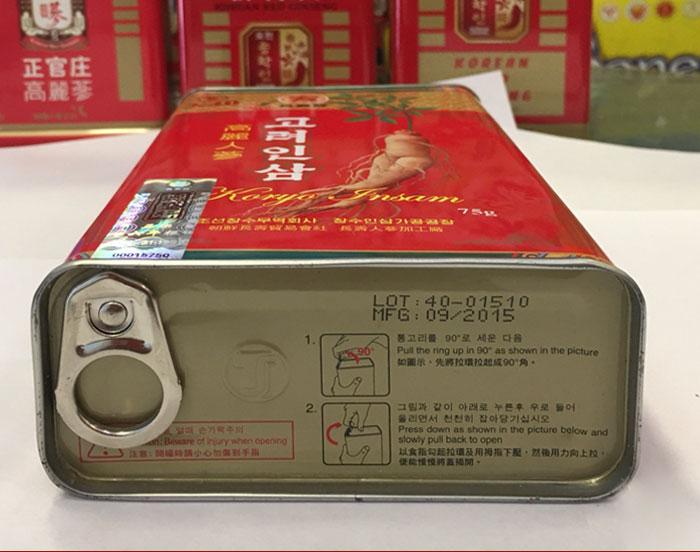 Hồng sâm Cao Ly Triều Tiên 6 năm tuổi nhập khẩu hộp thiếc 300g