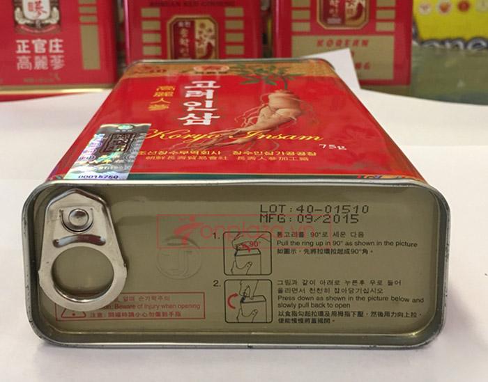 XHồng sâm Cao Ly Triều Tiên 6 năm tuổi nhập khẩu hộp thiếc 75g